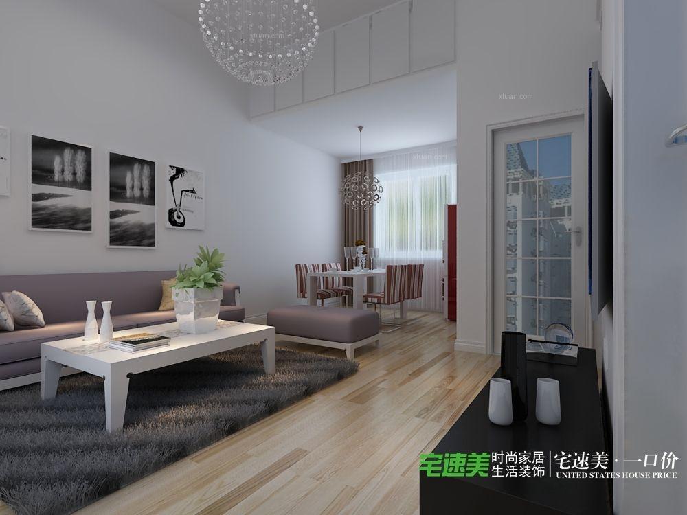华强城颐景湾畔复式三室两厅110平现代风格装修效果图