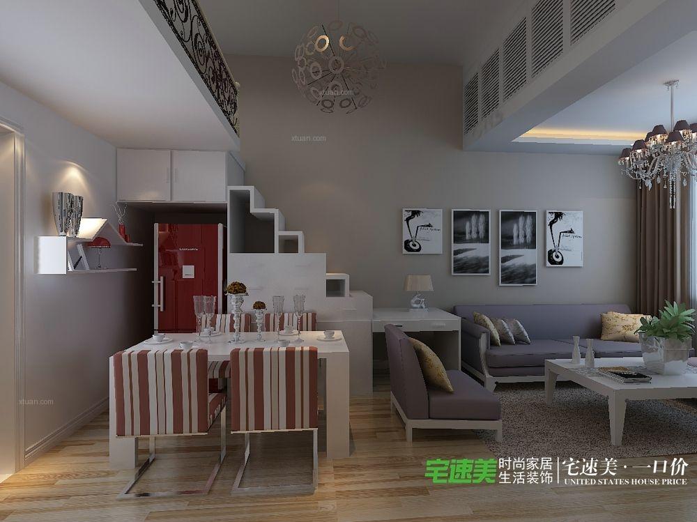 华强城颐景湾畔复式三室两厅110平现代风格装修效果图图片