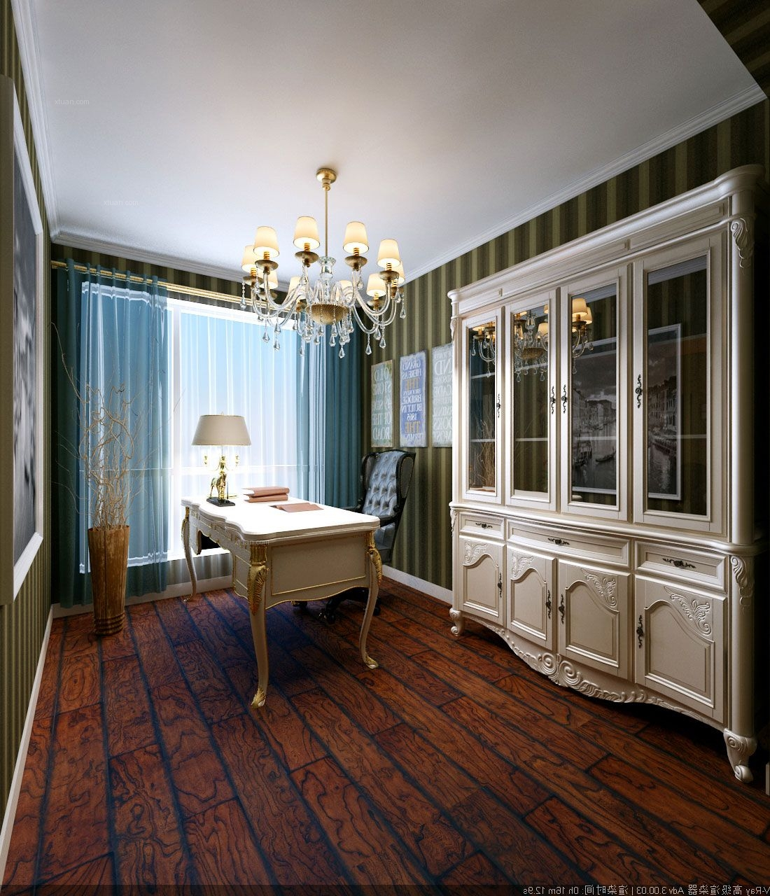 三室两厅欧式风格书房图片
