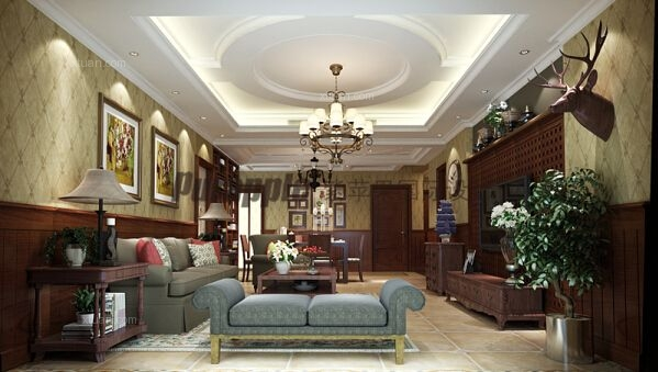 三居室美式风格客厅圆形吊顶图片