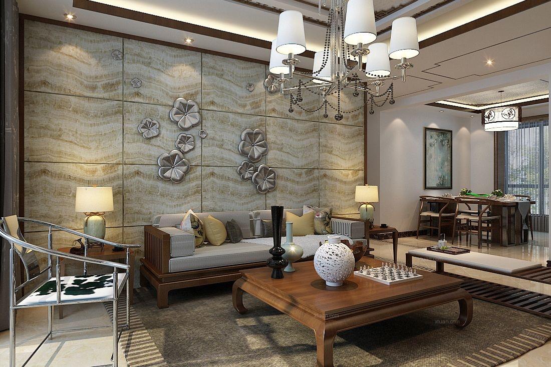 北郡帕提欧a户型135平三室两厅新中式风格装修效果图图片
