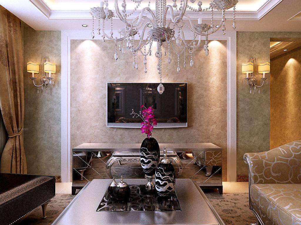 国瑞城90平米两室两厅简欧风格案例装修效果图图片