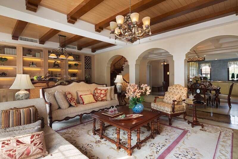 300平别墅美式风格-留学生的美式家装修效果图图片