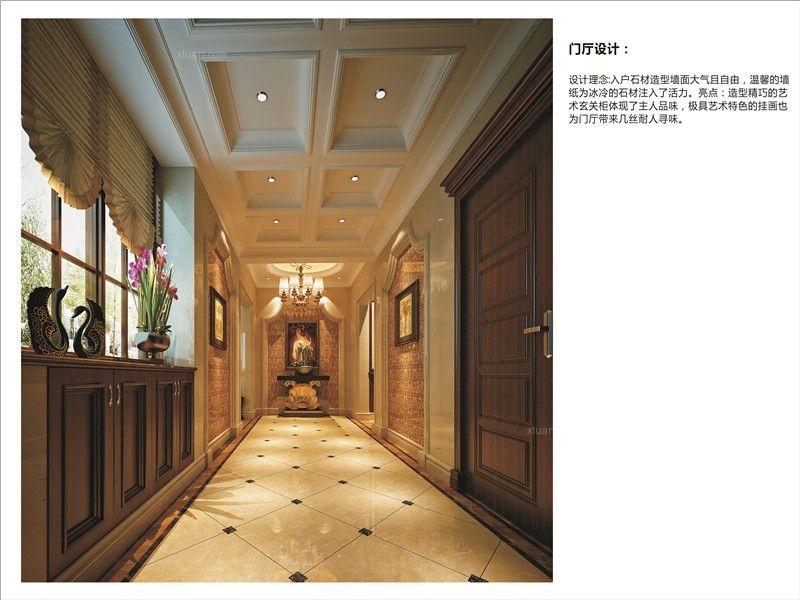 别墅美式风格过道墙绘图片