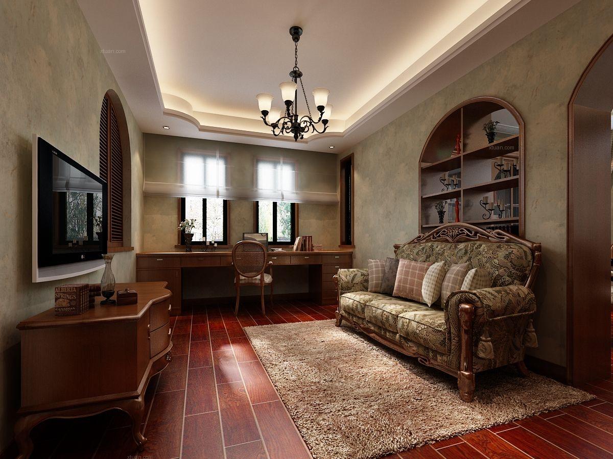 复式楼新古典客厅电视背景墙图片