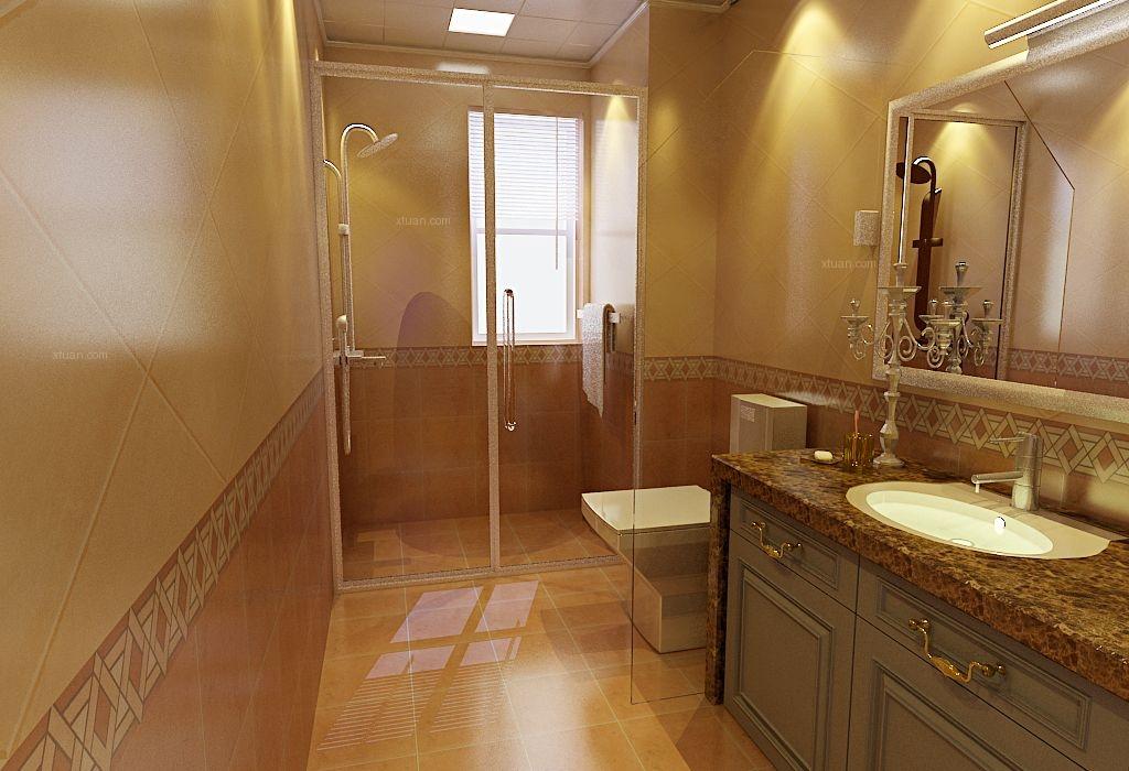三居室简欧风格卫生间隔断图片