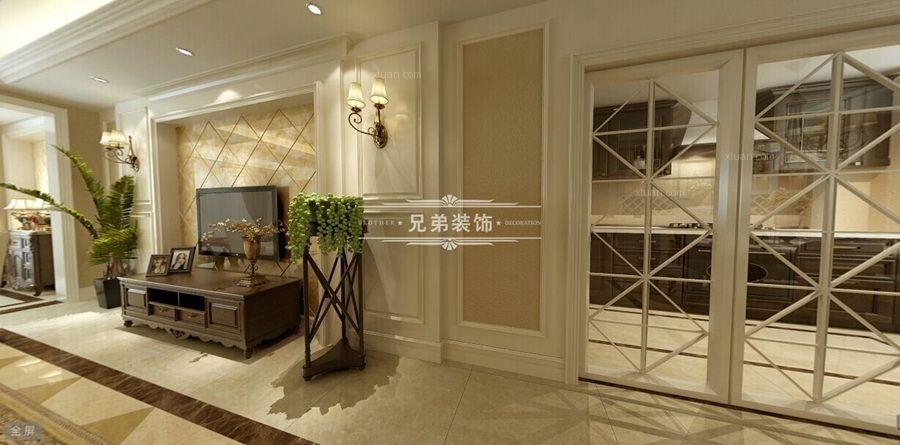 跃层欧式风格客厅电视背景墙图片