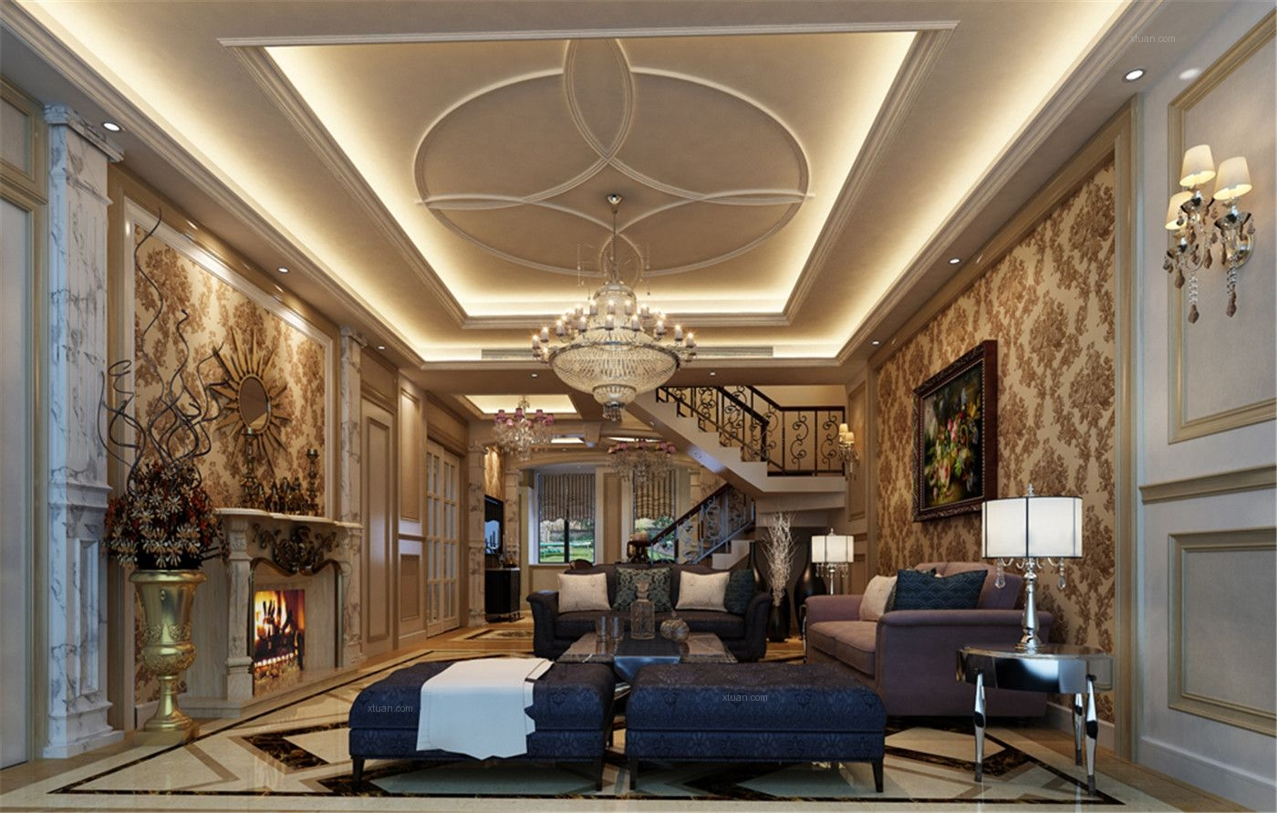 天润周庄别墅户型欧式风格设计方案装修效果图图片