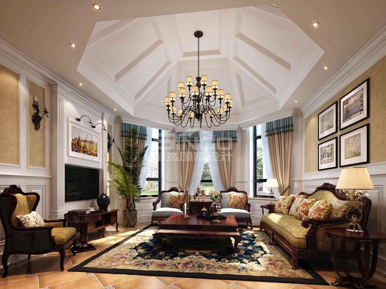 独栋别墅美式风格客厅软装图片