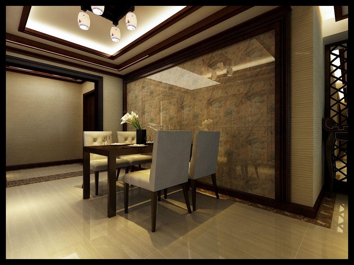 五彩阳光城-6万打造130平新中式风格装修效果图图片
