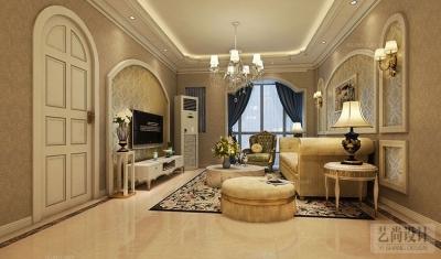 国龙绿城怡园89平方两室两厅简欧风格装修方案效果图图片
