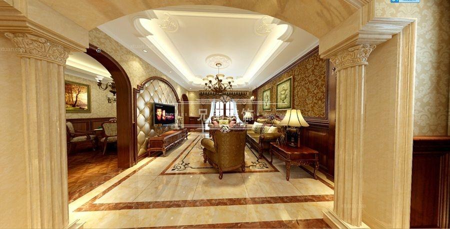跃层欧式风格客厅沙发背景墙图片