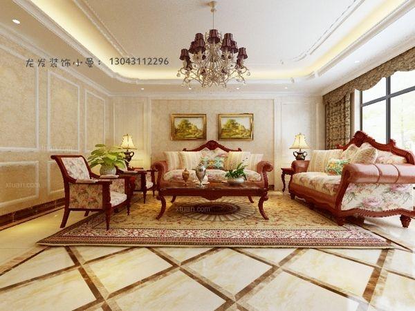 四居室美式风格客厅圆形吊顶