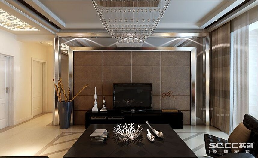 三居室北欧风格客厅电视背景墙图片