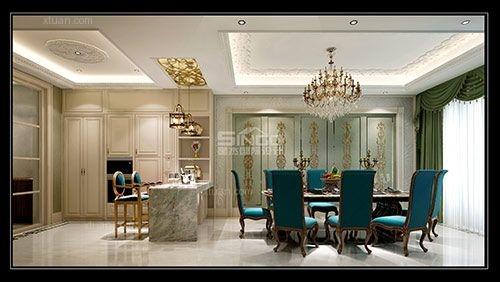 独栋别墅法式风格餐厅软装图片
