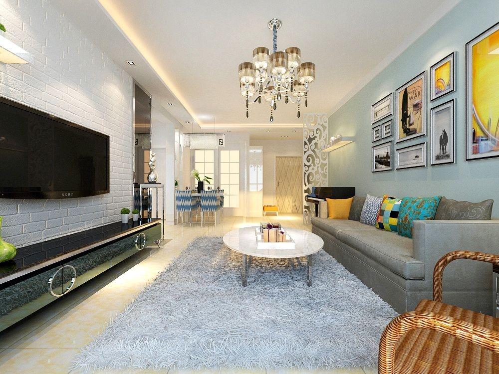 标签:客厅两室两厅现代风格 设计理念:客厅的整体感觉舒适,阳光充足