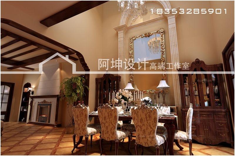 别墅美式风格餐厅电视背景墙