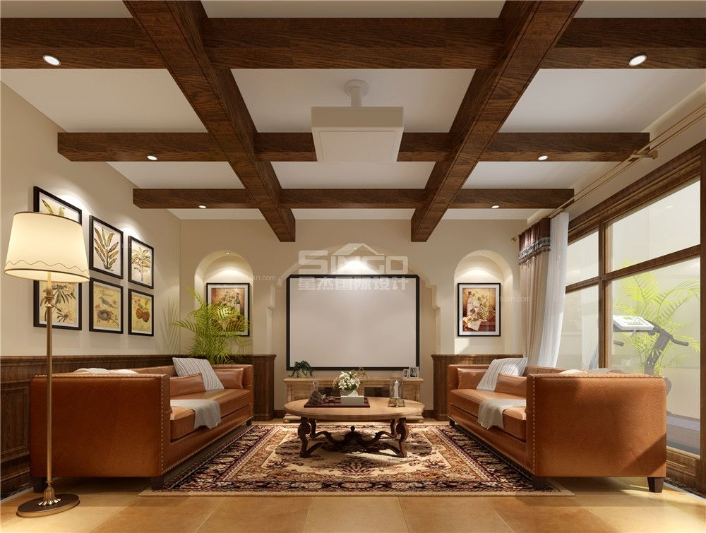 独栋别墅美式风格地下室软装图片