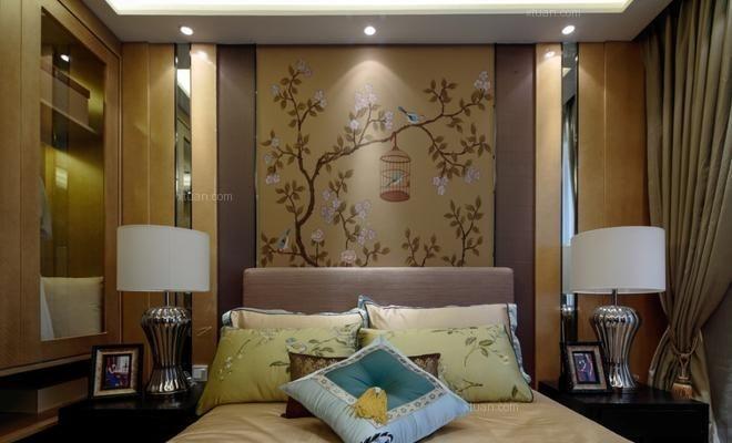 两居室中式风格卧室墙绘