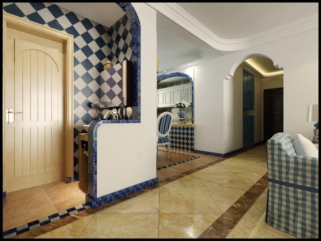 三居室地中海风格卫生间地台