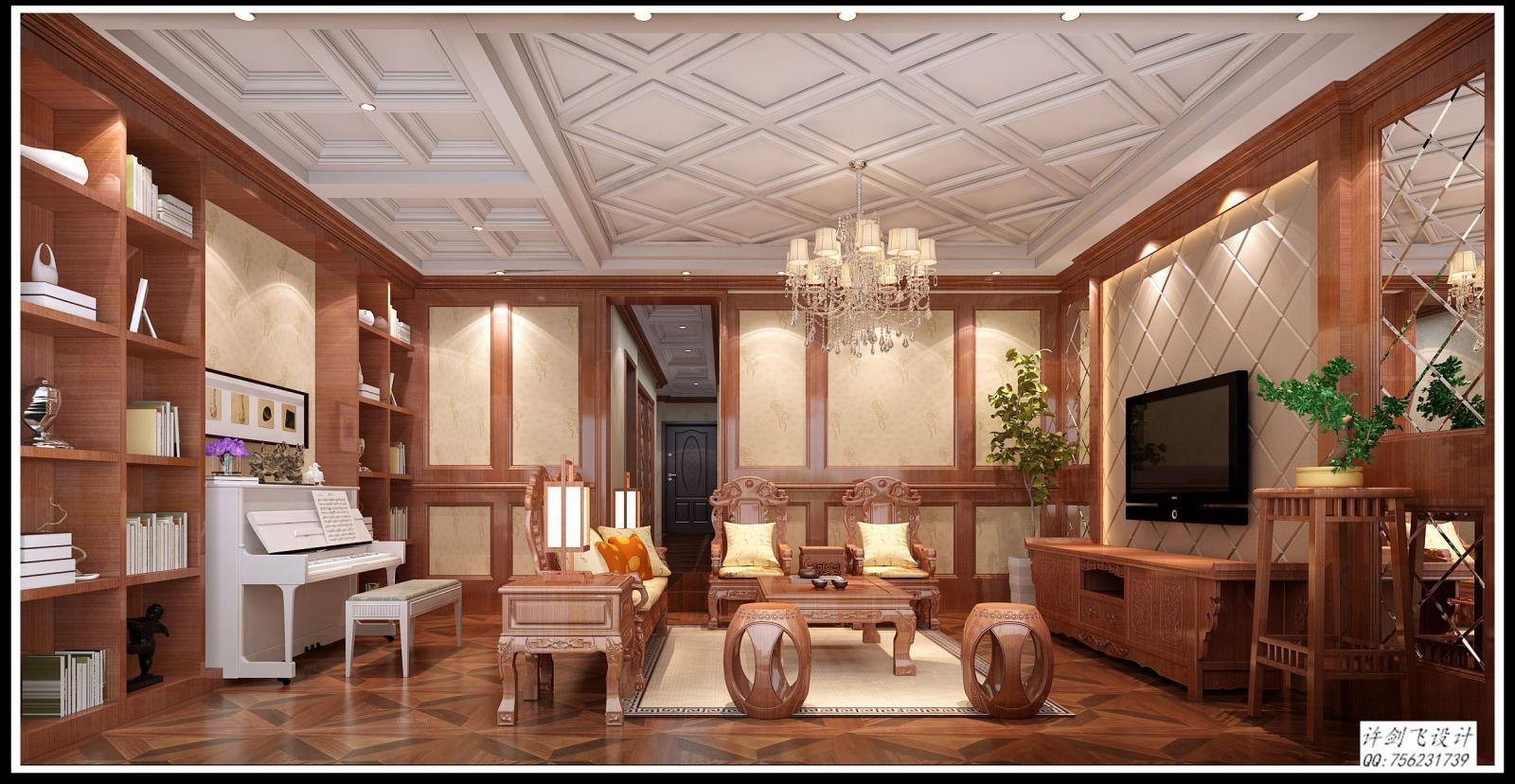 独栋别墅中式风格客厅电视背景墙