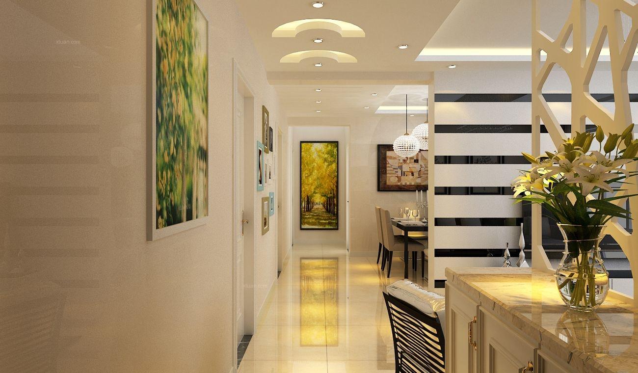三居室现代简约玄关开放式厨房