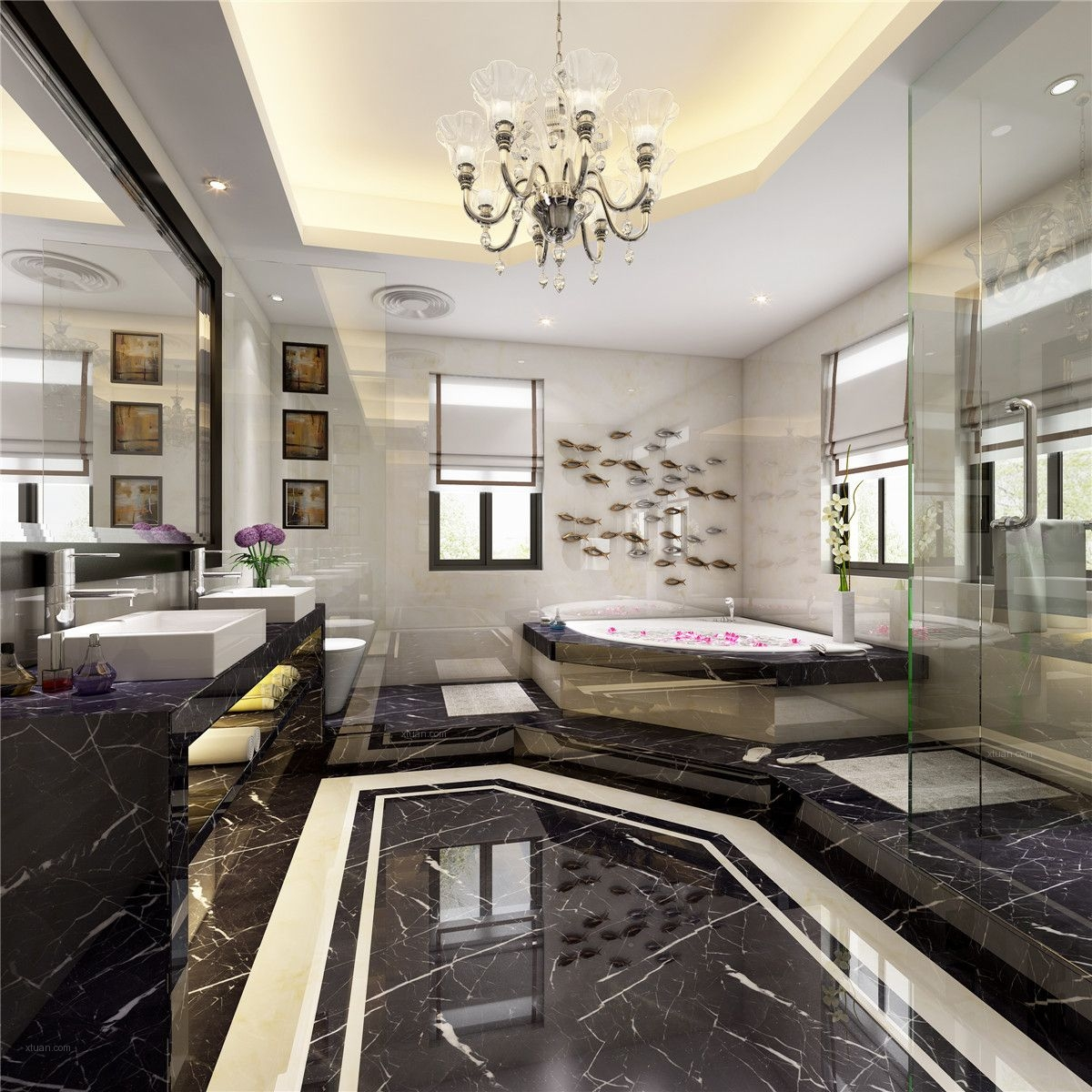 观庭别墅现代风格设计方案展示,腾龙王琛作品装修效果