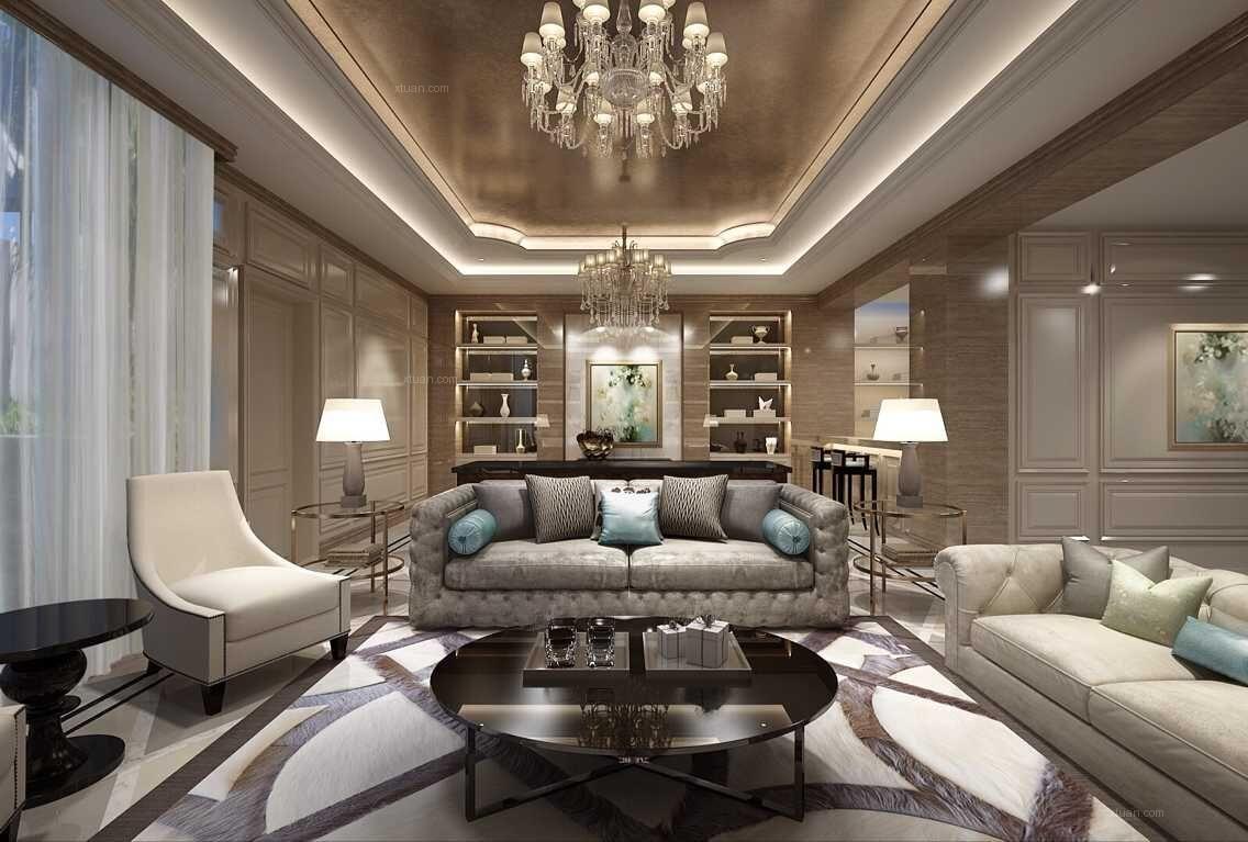 别墅新古典客厅沙发背景墙图片