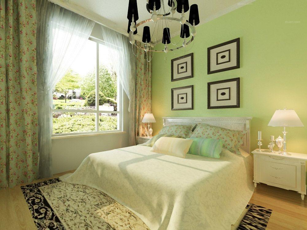 主卧室三室两厅中式风格 设计理念:主卧室有一个飘窗,用实木花格装饰图片