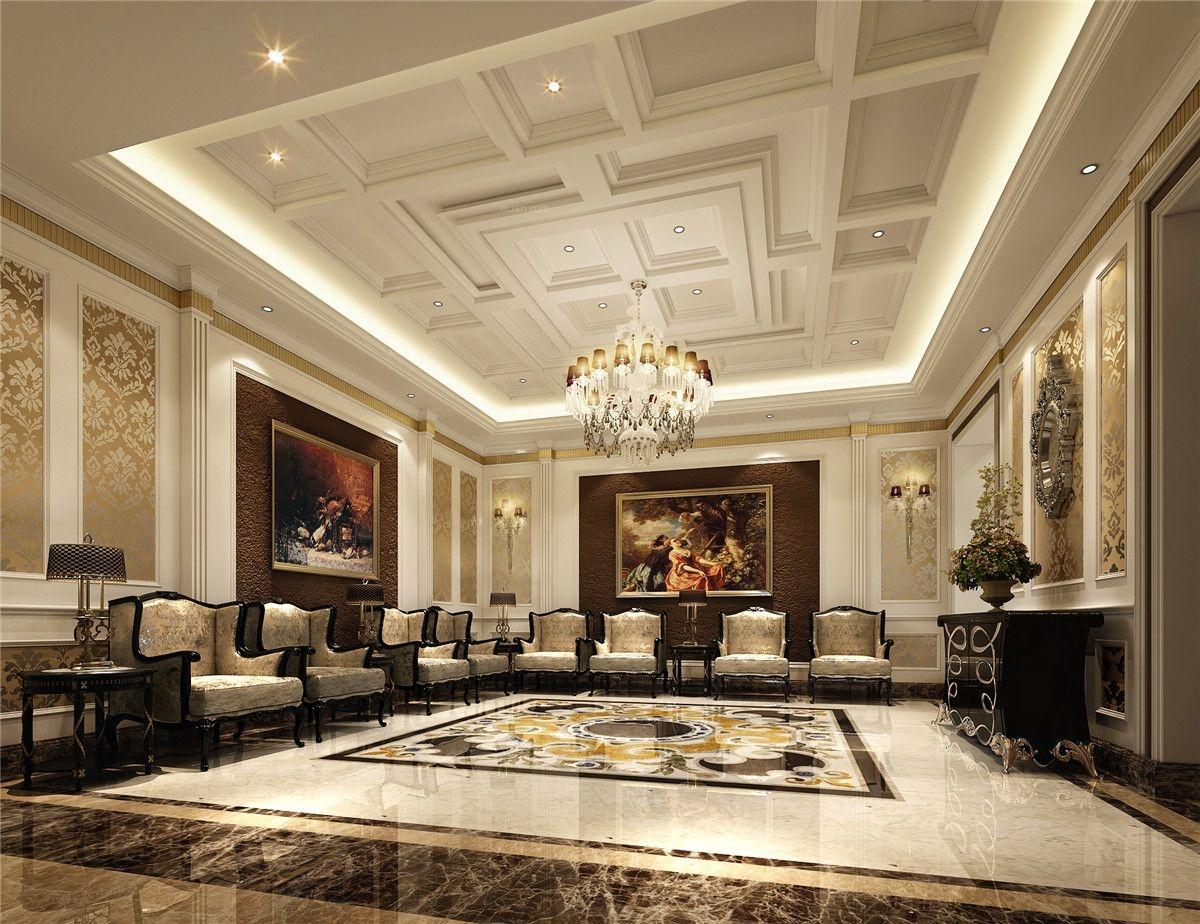 别墅欧式风格客厅沙发背景墙图片