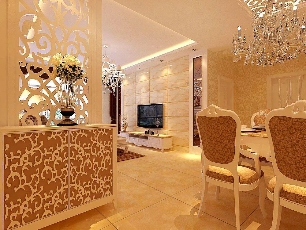 设计理念:电视背景墙以石材作为装饰,两侧用棱镜搭配,大气有档次。客厅与餐厅用吊棚来划分区域。直线吊棚摆脱了传统欧式风格的弧形繁琐感,是空间的视觉效果加大。柔和的灯光打在米色的的墙面壁纸上,给整体空间带来温馨舒适感。