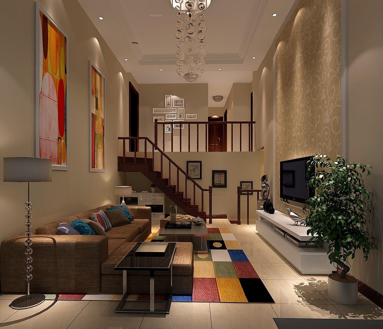 四居室北欧风格客厅电视背景墙图片
