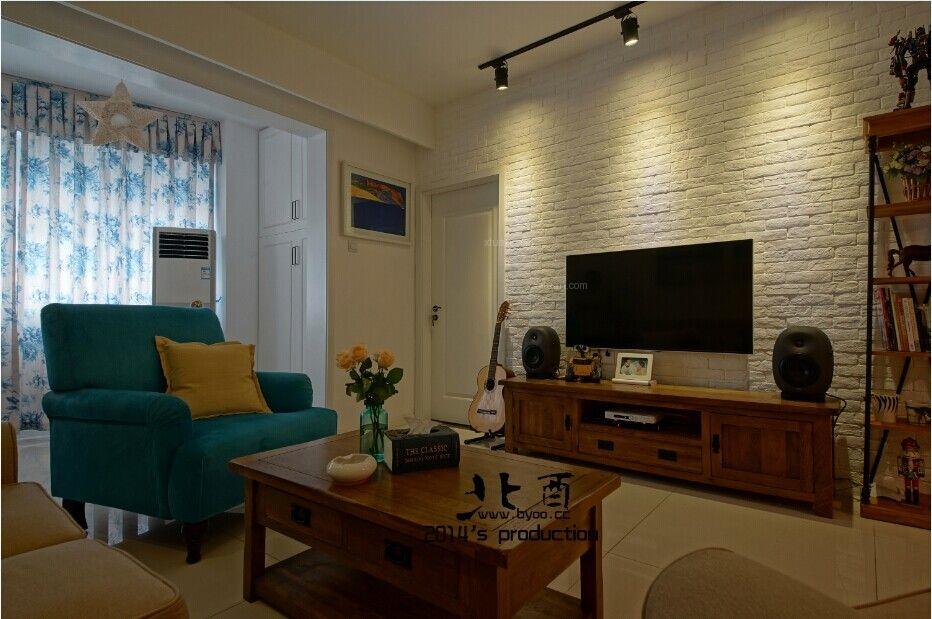 两居室北欧风格客厅电视背景墙图片