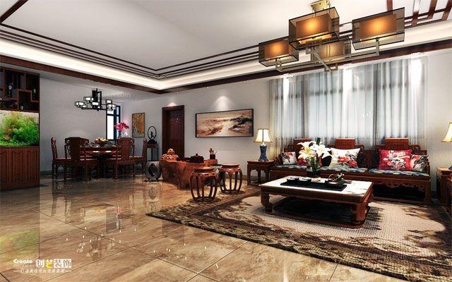 创艺-华凯逸悦豪庭-225平米-中式风格案例装修效果图