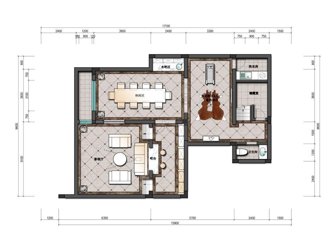 保亿风景水岸别墅美式风格设计装修效果图