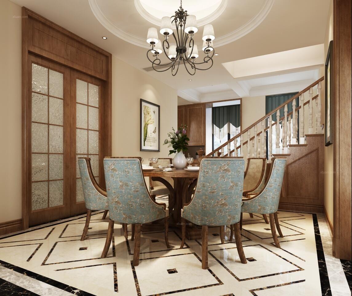 中建大公馆别墅美式风格设计方案装修效果图图片