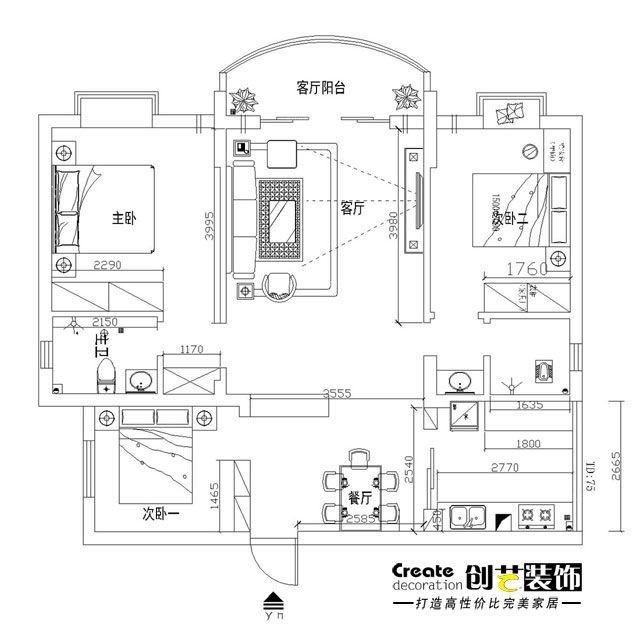 创艺-半岛融园-92平米-现代简约装修效果图