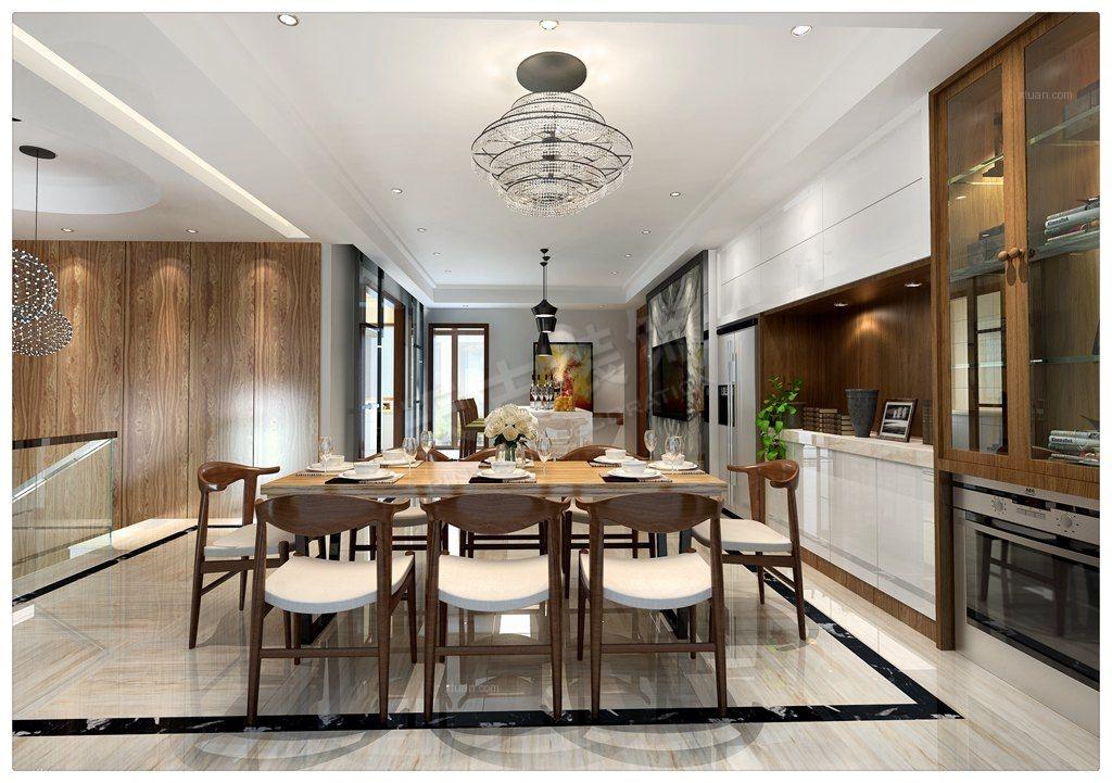 三居室现代风格餐厅图片