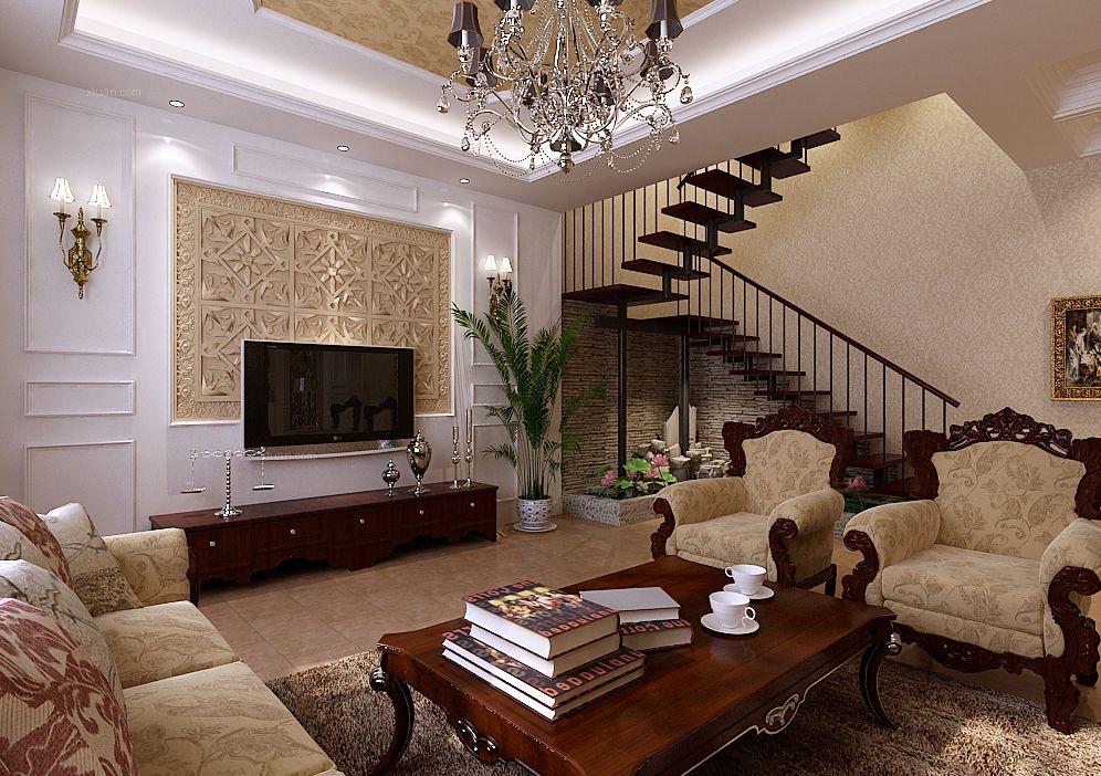 复式楼混搭风格客厅电视背景墙