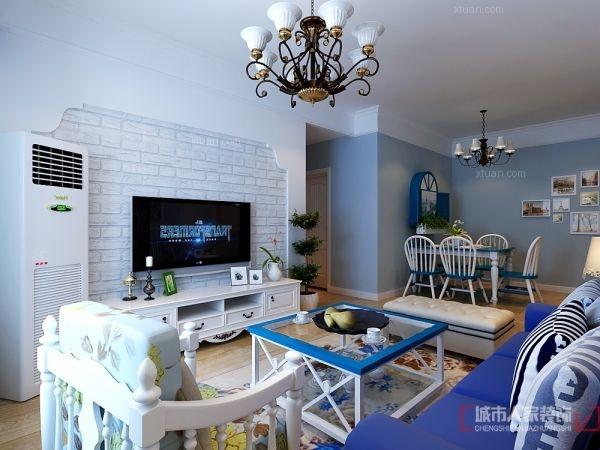 三室两厅地中海风格客厅电视背景墙