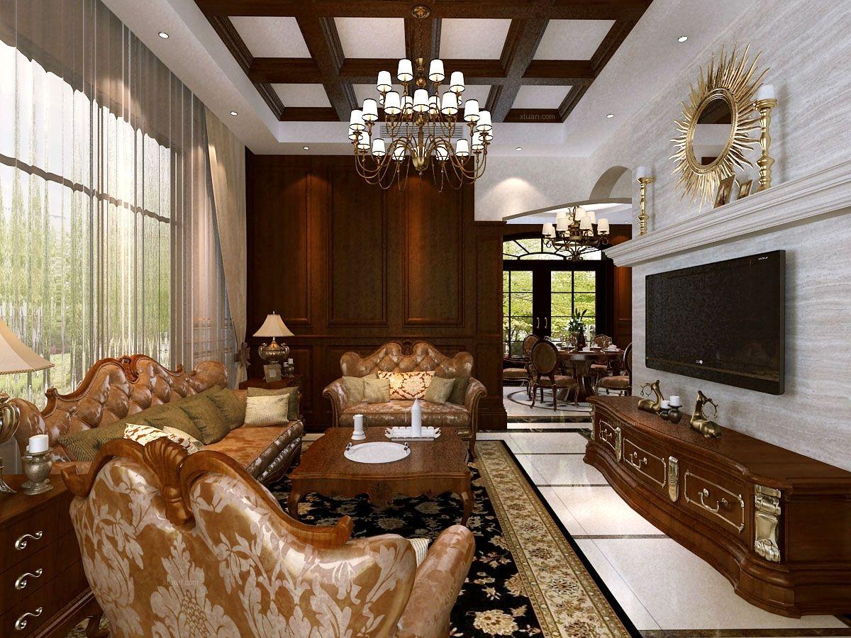 洛阳别墅碧桂园美式木梁吊顶布艺沙发装修效果图