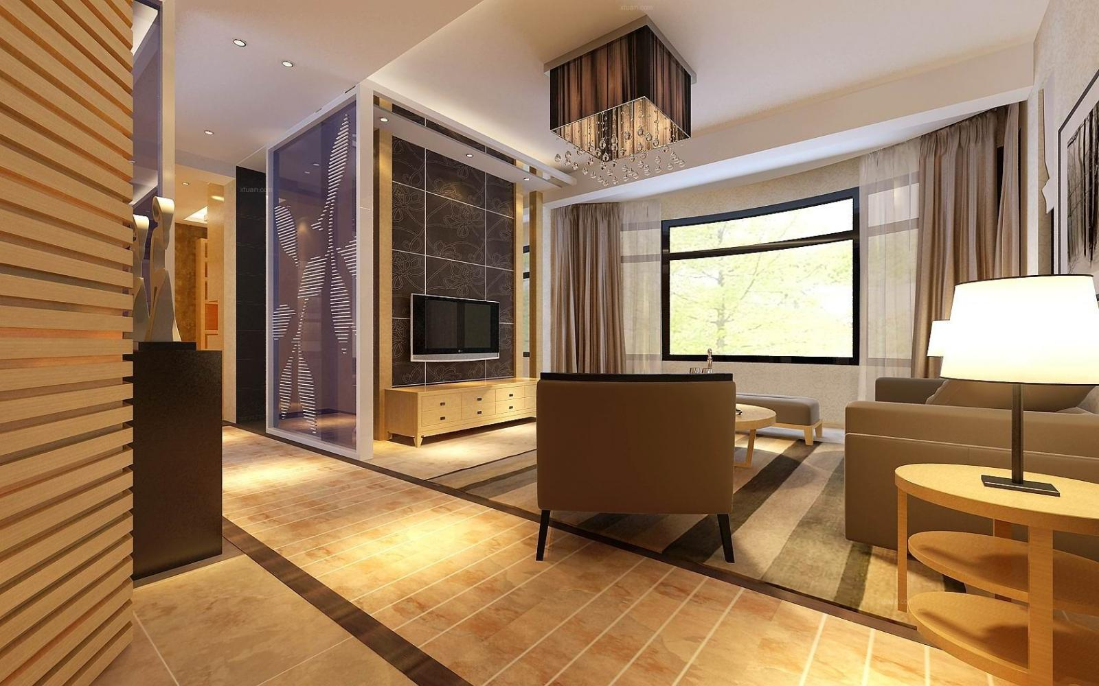 两居室混搭风格客厅电视背景墙图片