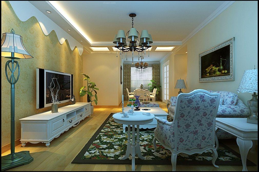 三居室现代简约客厅圆形吊顶