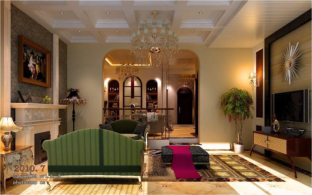 独栋别墅欧式风格客厅沙发背景墙