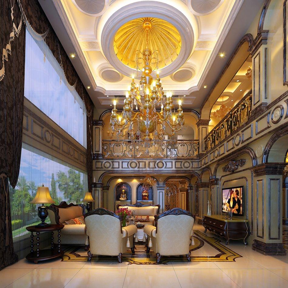 别墅欧式风格客厅电视背景墙图片