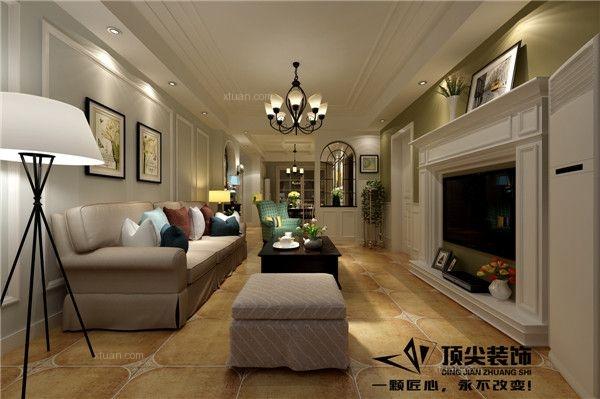 两室两厅美式风格客厅沙发背景墙