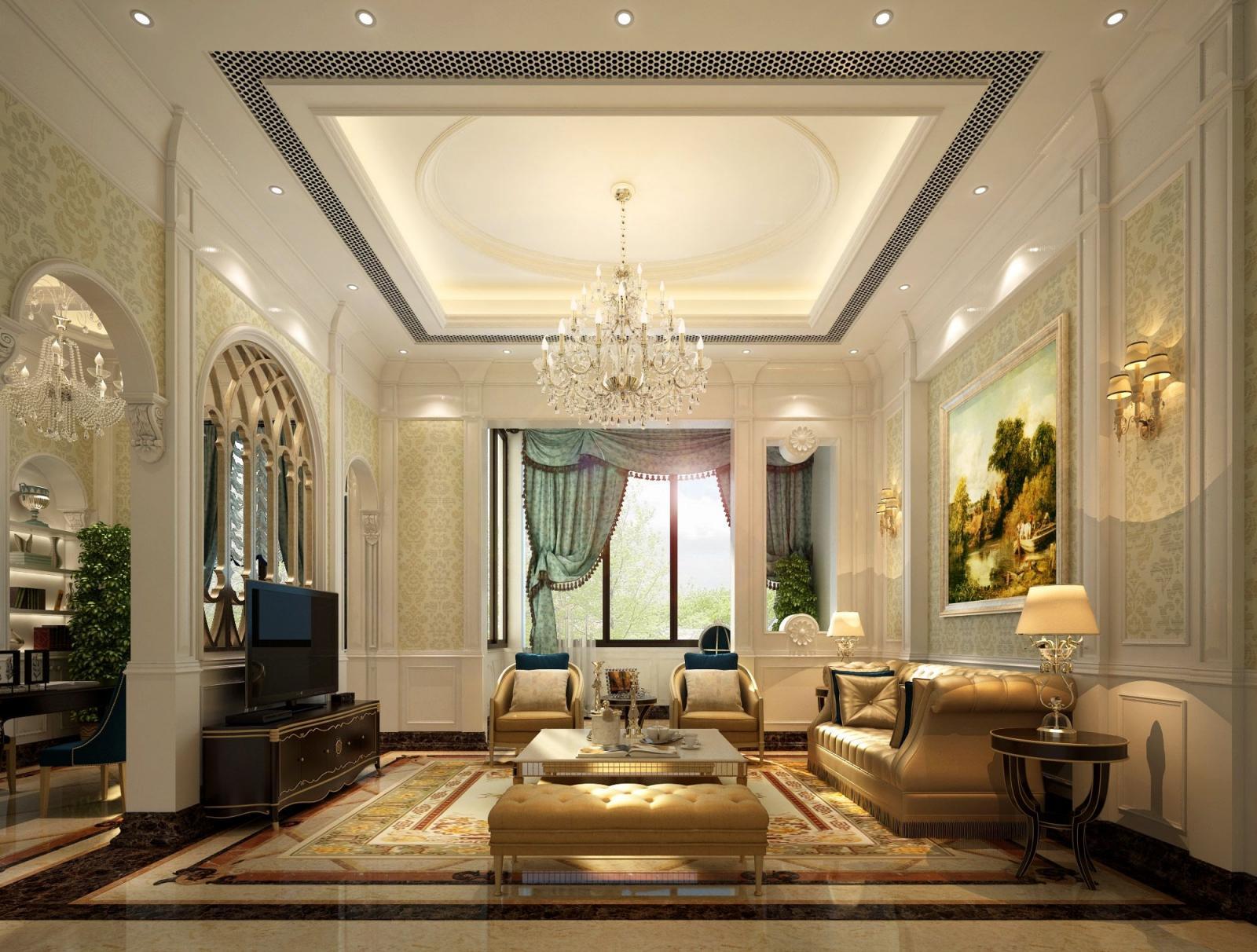 三居室简欧风格客厅图片