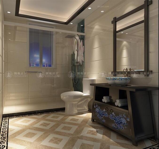 别墅中式风格卫生间图片