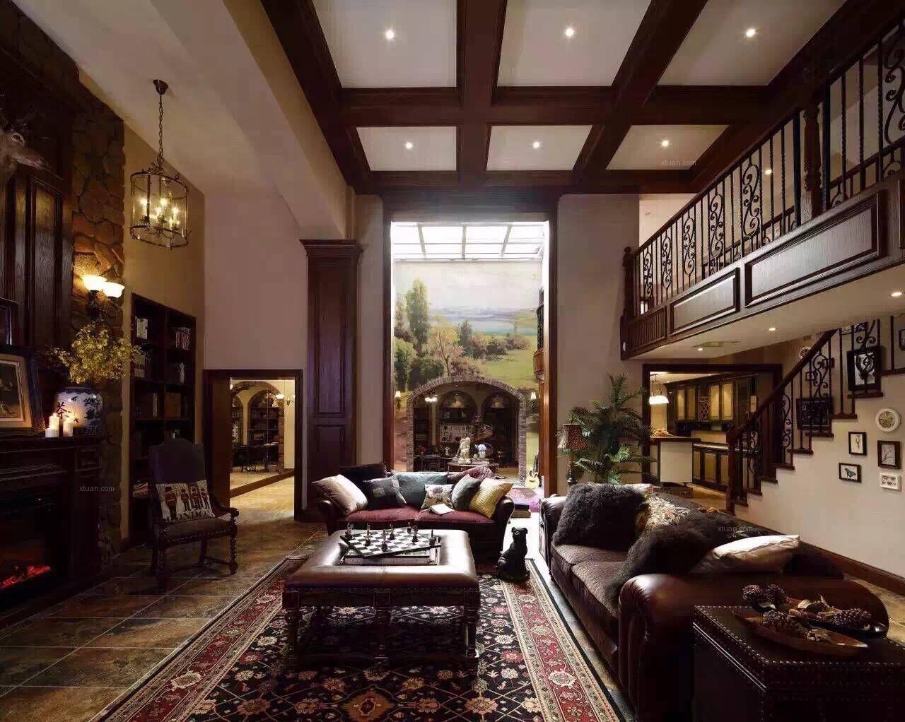 独栋别墅美式风格客厅沙发背景墙图片