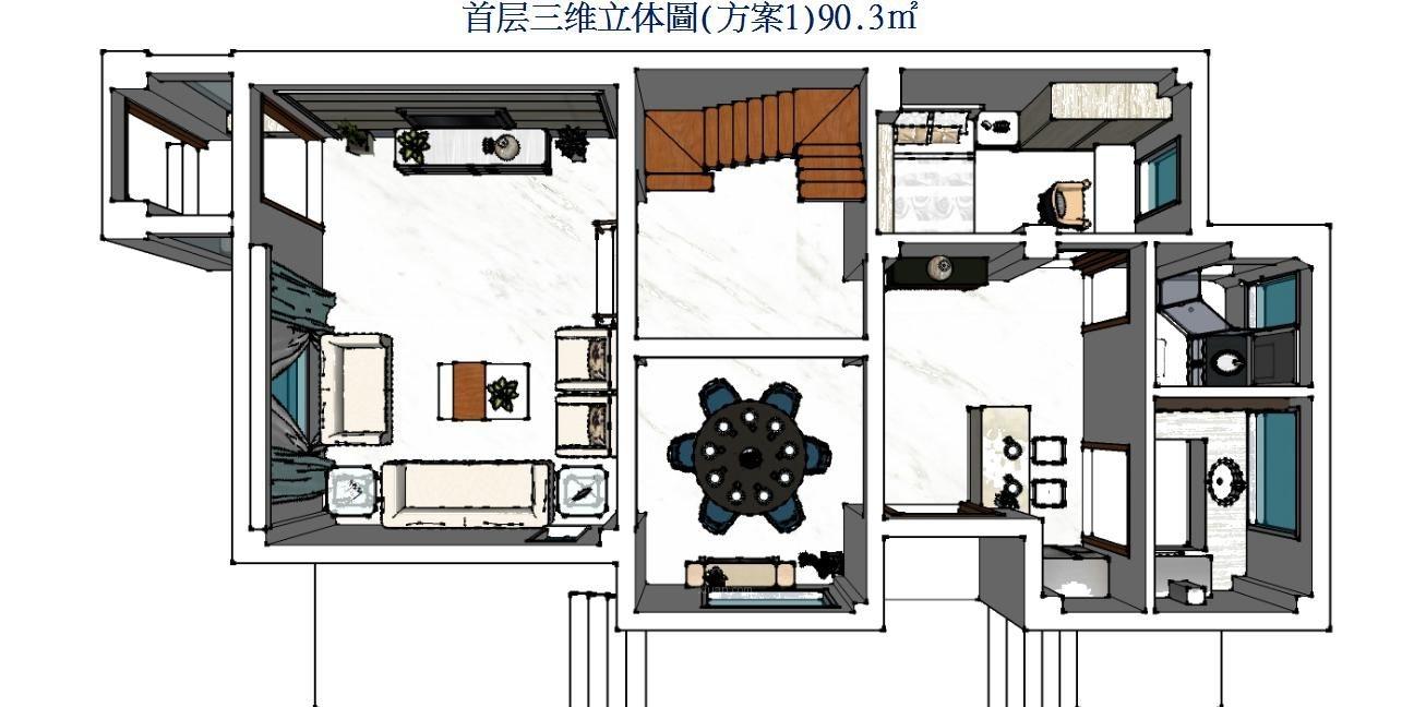 上海院子联排别墅户型分析装修效果图